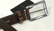 "Paul Smith Belt 28"" Chocolate Brown - VINTAGE STRIPE KEEPER & White Stitching"