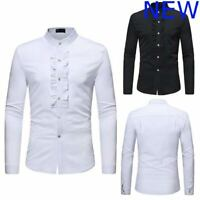 Slim Fit Mens Casual Shirt Stylish Long Sleeve Luxury Top Dress Shirts Floral