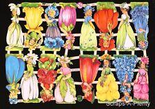 German Embossed Scrap Die Cut - Petite Colorful Flower Dress Girls  EF7425