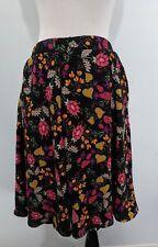 Lularoe Women's Size L Knee Length Full Skirt Black Pink Yellow Floral Pleated