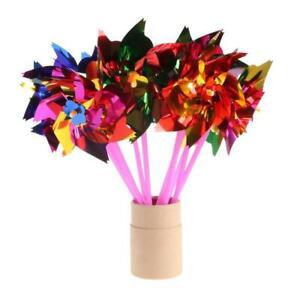 10Pcs Plastic Windmill Pinwheel Wind Spinner Kids Toy Garden Lawn Party Decor