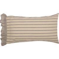 SAWYER MILL CHARCOAL King Pillow Case Set Striped Farmhouse Creme/Grey 21x40