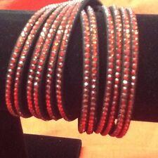 ELEGANT LEATHER Slake BRACELET/CHOKER Made With SWAROVSKI CRYSTALS RED On BLACK