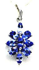 Tanzanite (Mrq) Pendant w 18 in Chain in Sterling Silver