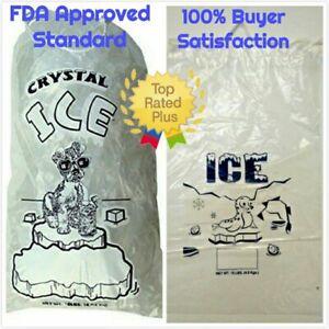 COMMERCIAL 500 PCs Clear 10 LB / LBs 8 LB / LBs Plastic Ice Bag Bags Drawstring