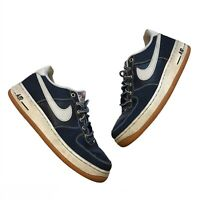 Nike Air Force 1 Boys Youth Sneakers Blue Leather Suede Trainers 2015 5.5Y