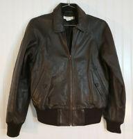 J.Crew Brown Leather Bomber Aviator Flight Jacket Military Style Women's S