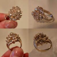 2.50 Ct Round Women's Diamond Cluster Engagement Ring 14K Yellow Gold Finish