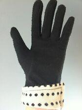 Gant noir vintage tissu feutrine acrylique revers blanc & pois T7 1/2