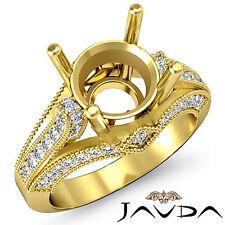 Diamond Engagement Milgrain Setting Ring 18k Yellow Gold 0.8Ct Round Semi Mount