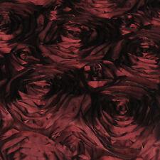 "10 Burgundy 54""x54"" Rosette Rose Satin Table Overlays Tablecloths Event Wedding"