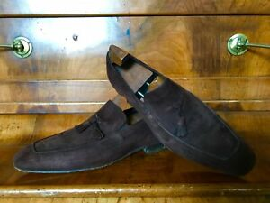 Russell & Bromley Brown Suede Leather Tassled Loafers