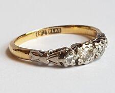 HANDMADE 3 STONE TRILOGY 1/4ct DIAMOND ENGAGEMENT RING 18ct GOLD PLATINUM c1910