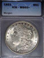 1921 Morgan Silver Dollar, ICG MS65+ ,  Issue Free