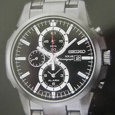 SEIKO MEN'S WATCH SOLAR ALARM CHRONO DATE ALL S/S IP BLK SSC095 JAPAN NEW