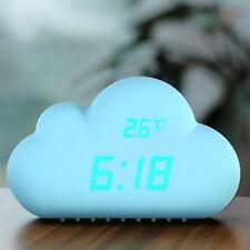 Cyan Cloud Shape Sound Control Digital Alarm Clock Time Date Temperature Clock