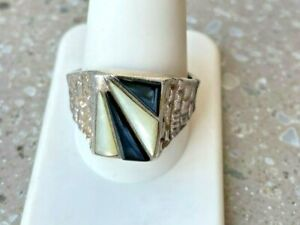 MEN'S 925 STERLING SILVER  ONYX & MOTHER OF PEARL SIGNET RING SIZE 12