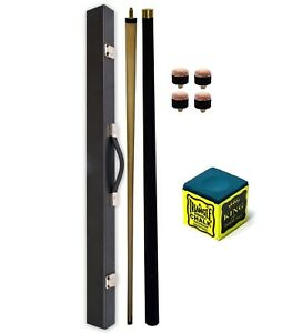 """57"""" 2 Piece Center Split Pool Cue With HARD Case BLUE TRIANGLE Chalk & 4 Tips"""