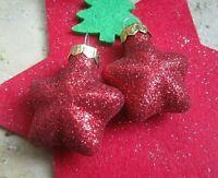 ★ christbaum kugel weihnachts ohrringe rote funkel sterne ca 3 cm s 925 haken