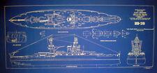 "WW2 Battleship USS Arizona Blueprint Drawing Display Plan 17"" x 36"" (089)"