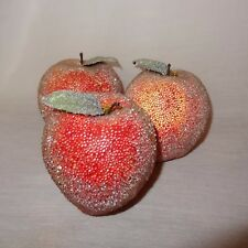 Vintage 3 Apples Beaded Sugar Table  Artificial Faux Fruit 3""