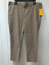 NEW Jules  & Leopold Faux Front Zip Pockets Check Slim Leg Ankle Pants Size XL