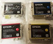 EPSON Original 4 Inks  Cartridges Seal T0801 T0802 T0803 T0804 (T0807) Black CLR