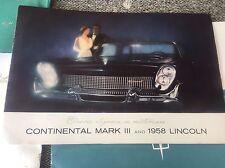 1958 Lincoln Capri and Continental Mark 3 Large Color Brochure Catalog Prospekt