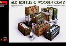 Miniart 1:35 Milk Bottles & Wooden Crates Plastic Model Kit