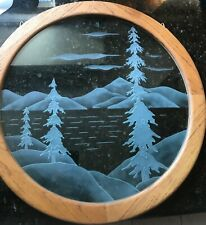 Etched leaded glass window panel with Lake Tahoe scene
