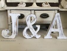 LARGE SHABBY CHIC VINTAGE WHITE WOODEN  NAMES ALPHABET WEDDING LETTERS 15CM