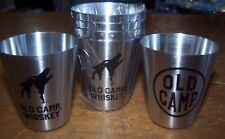 NEW lot of 6 Old Camp Brand Whiskey Metal Shot Glasses Bar Party Man Cave