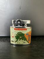 Vintage Alaska Land of the Midnight Sun Dog Sled enamel lighter