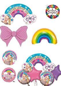 Jojo Siwa (Jo Jo Bows)& Rainbow Foil Helium & Air Balloons Party Ware Decoration
