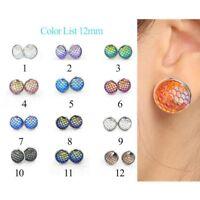 12mm Women Fashion Mermaid Fish Scales Ear Stud Earrings Multicolor Earrings