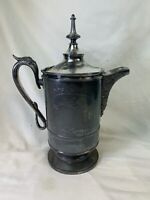 JAS.STIMPSON Silver Plate Ice Water Pitcher Ceramic Liner 1868 Victorian 499