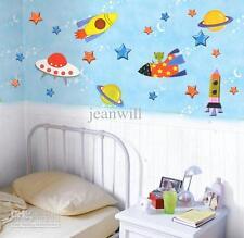 Space Ship Stars Cartoon childrens nursery wall sticker Decor  LD1138