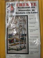 """Crewel Needlecraft Kit Indian Summer Valley Craft Creative #403 12"""" x 22"""" Vtg"""