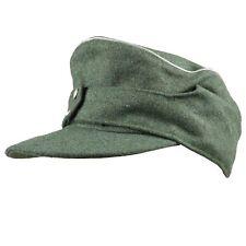 WWII GERMAN OFFICER M43 WH EM FIELD PANZER GREEN WOOL CAP HAT  XL