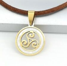 Gold Spiral Pearl Triskel Irish Celtic Pendant 3mm Brown Leather Choker Necklace