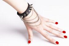 Punk Spike Leather Charm Bracelet Stud Black Wristband With Chain