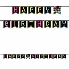 Happy Birthday Sticker Party Glow In The Dark Banner Letters Cards Decorations