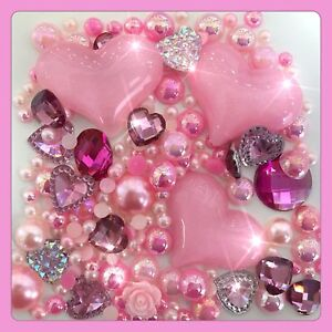 Pink Hearts Theme Cabochon Crystals, Gems & pearls flatbacks for decoden crafts