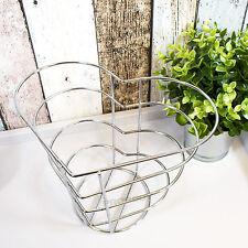 Chrome filo forma a cuore frutta ciotola Shabby Chic Vintage Pane Uova Cestino di Stoccaggio