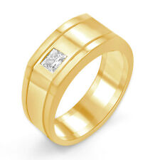 0.35 Ct Princess Men's Diamond Wedding Band VS2 G Ring 14k Gold Yellow 8.13 mm