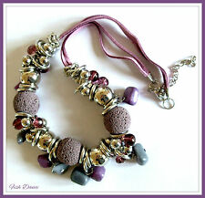 "ELEGANT WARM LILAC STONE & SILVER ETHNIC TRIBAL 23"" LONG STATEMENT NECKLACE"