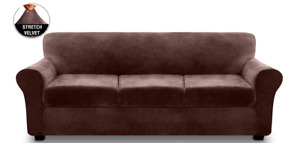 4 Pieces Sofa Covers Stretch Velvet Couch Covers for 3 Cushion Sofa Slipcovers