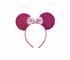 **NEW** GLITTER SEQUIN MINNIE MOUSE EARS  BLACK PINK WHITE HEN PARTY FANCY DRESS
