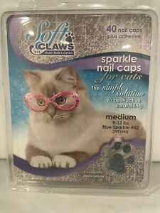 Soft Claws Sparkle 40 Nail Caps for Cats Medium 9-13 Lb Blue Sparkle
