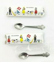 Lot of 2 Rolex Souvenir Collector Spoon Bucherer Switzerland Lucerne Lugano Box